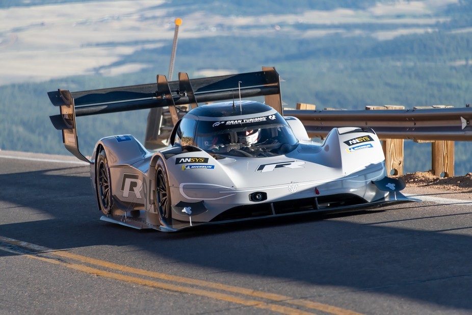 Romain Dumas, driving the Volkwagen I.D. R Pikes Peak, set the overall record for the Pikes Peak ...