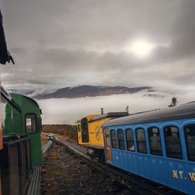 A stormy shot of Mount Washington from the Cog Railway.