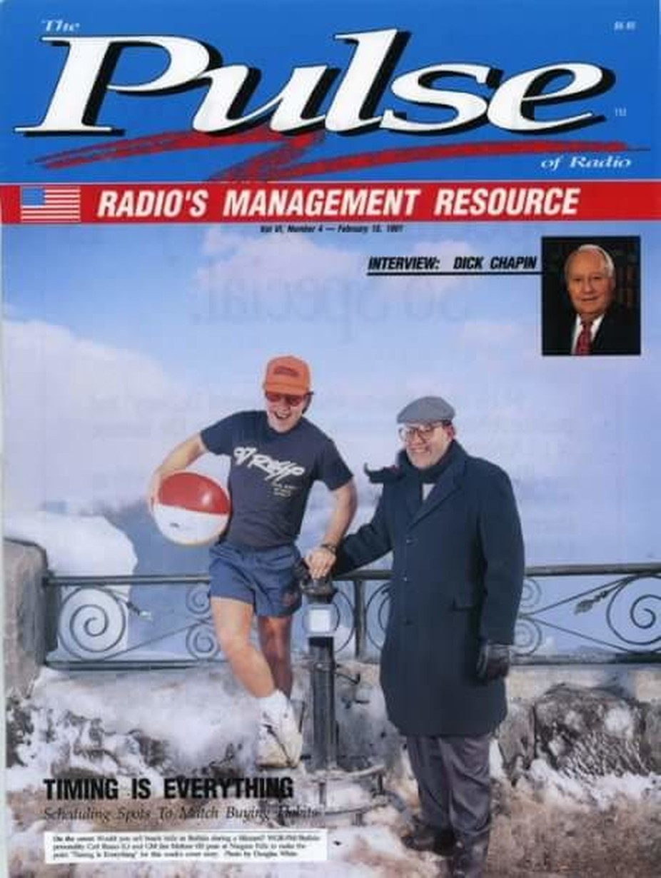 "This is a cover I shot for the ""Pulse of Radio""  a national industry magazine.. The article was geared towards salesman and titled ""selling beach balls in January""  I was asked to shoot a DJ & the station mgr. to be photographed at Niagara Falls. It was around  10°F and a cold mist coming up from the falls. The DJ was freezing his .....beach balls off.   Bronica ETRSi.645 fujichrome--  150mm lens  1/200 F8 2 portable 300WS strobes and 1 off camera flash.  Setup in a V."