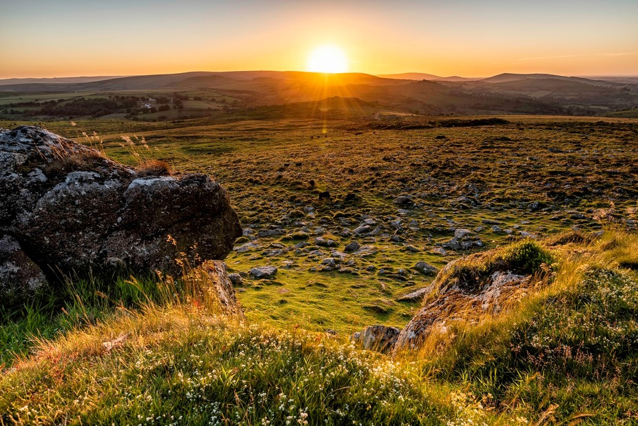 A sunset from Haytor on Dartmoor, UK.