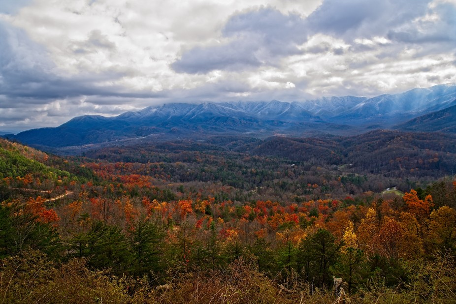 Light dusting of snow in the Smoky Mountains.