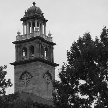 Pioneers Museum, Colorado Springs, Colorado, bell/clock tower, view form northwest