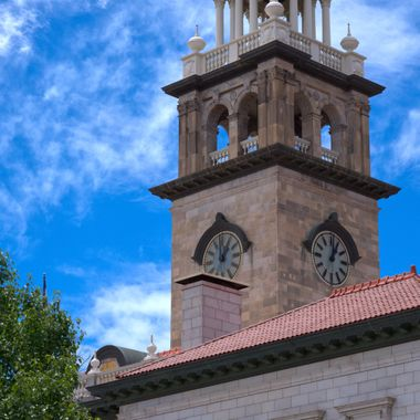 Pioneers Museum, Colorado Springs, Colorado, bell/clock tower, view from northeast