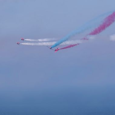 RAF Red Arrows performing a complicated routine at Forces Day 2018 at Llandudno.