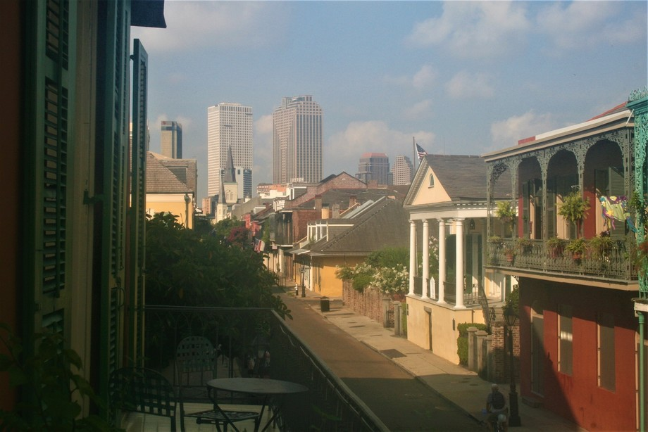 Shot from Soniat House balcony in the French Quarter.  I sort of like diagonal composition,.