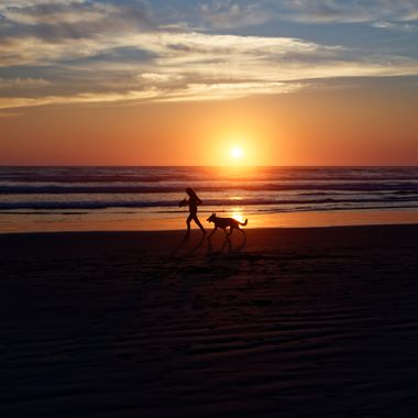 This dog and its human jogged in front of me as the sun was setting.  It was about one hundred yards from our room at The Inn at the Shore in Seaside, Oregon.  I love how in these jogging pairs the humans seem to be working hard.  The dogs, not so much.