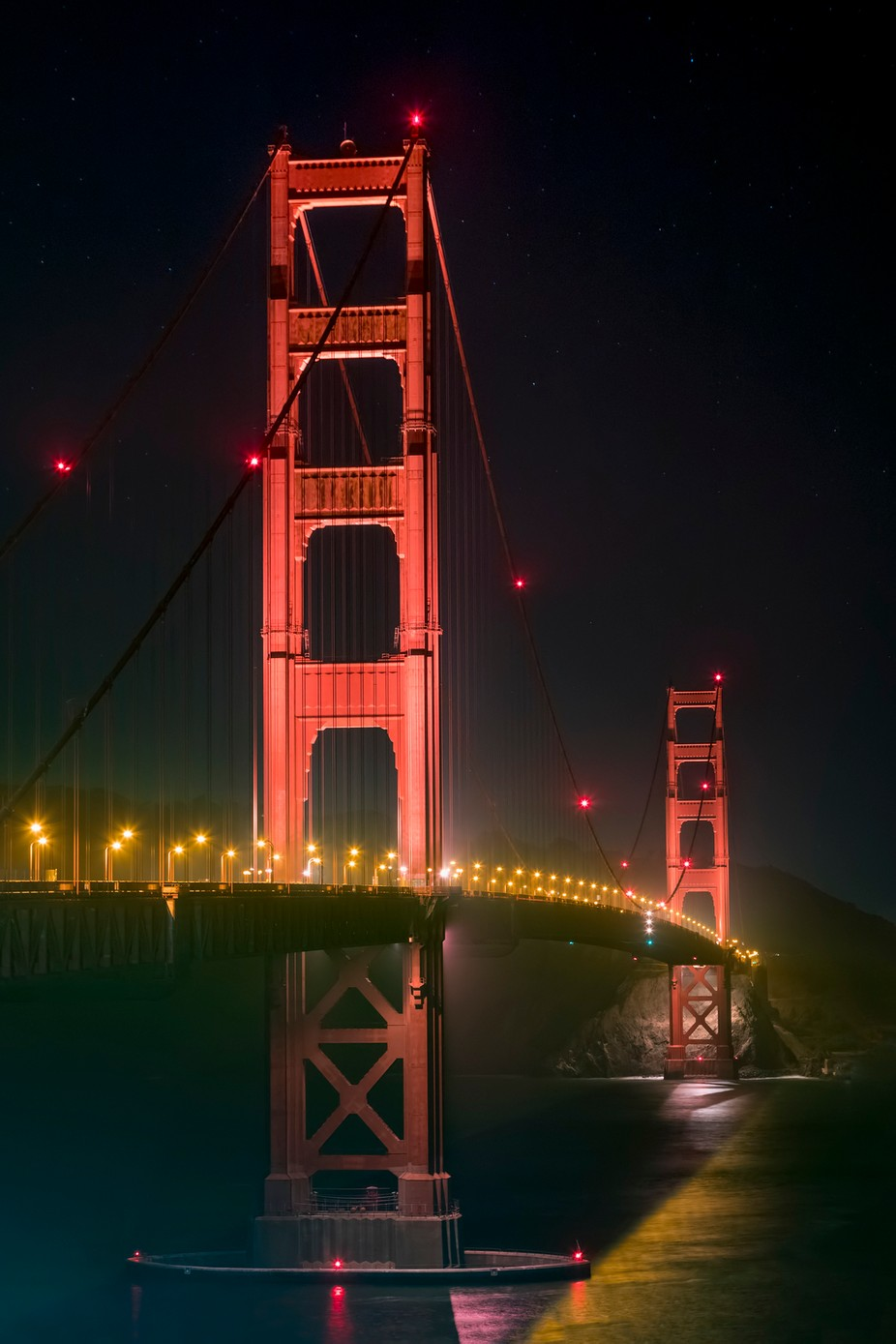 Suspended in Darkness - California's Golden Gate Bridge at Night by KennethKeifer - Night Wonders Photo Contest
