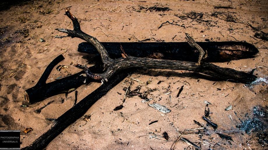 Remains of a campsite at Gunn Point beach, rural Darwin, Australia.