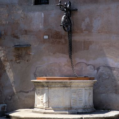 This caught my eye in one of the places we visited in Rome.  It no longer has water in it.