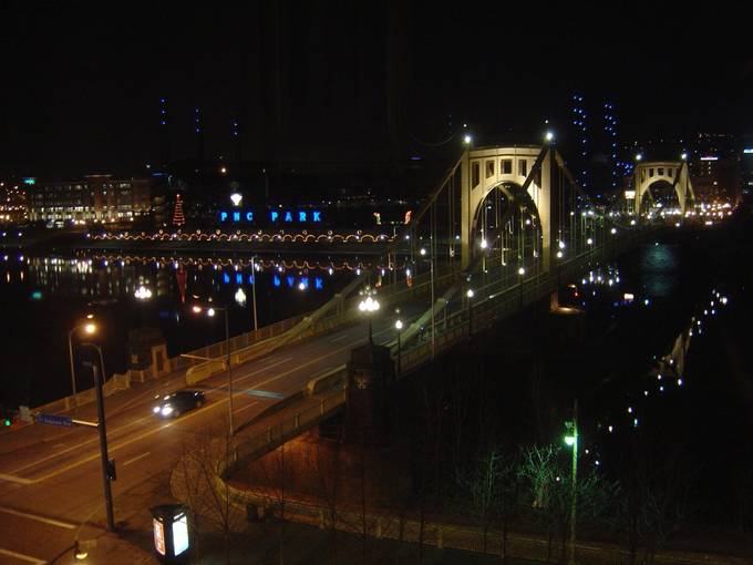 This was shot from a Pittsburgh, PA, hotel.  The bridge is somewhat upstream from where the Allegheny meets the Monongahela.