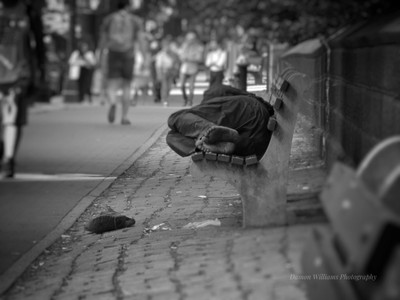 (The forgotten man) shot in NYC of a homeless man sleeping on a bench.