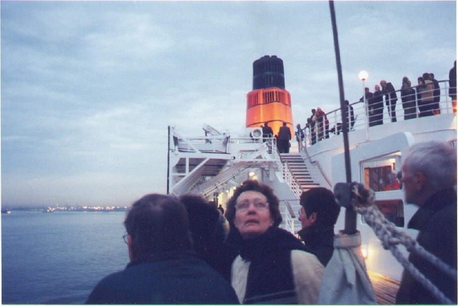 Original photo was with a film camera and the harbor is at South Hampton, England.  The boat is the Queen Elizabeth 2 sailing for America.