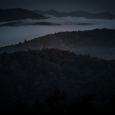 Early morning fog in the Blue Ridge mountains.