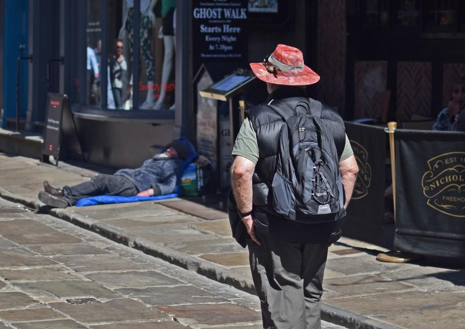 Modern day street scene of homeless people.