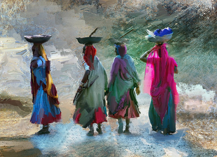 A composite created from a photo taken in India. I then painted their clothing which is always so...