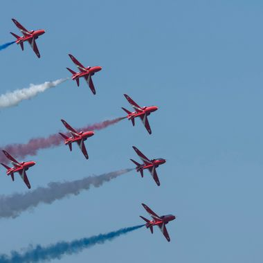 The RAF Red Arrows Flying Team during their Display at Llandudno Forces Day 30th June 2018.