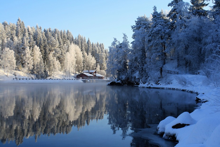 It is very rare to see the reflections in winter here in Northern Finland. Usually the lakes and ...