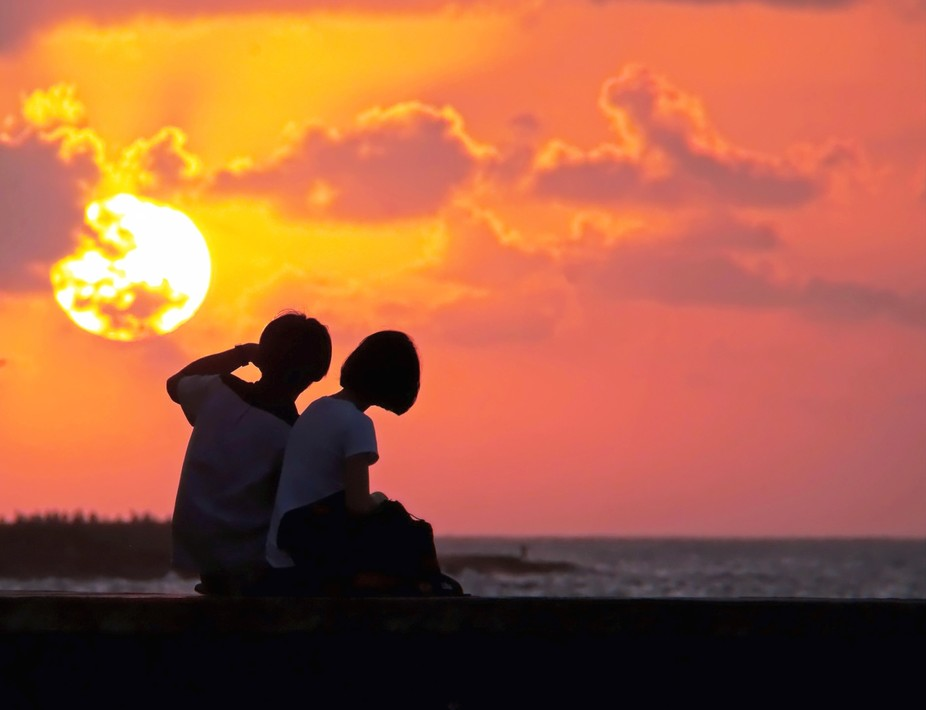 Young love at sunset. Havana, Cuba.