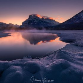 Vermillion Lakes and Mt Rundle, Banff, Canada.  A popular location, but the beauty of snow and iced lakes, is the endless unique compositions the...