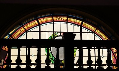 stained glass of train station