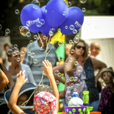 Taken at Hanworth Park House open day. It was nice to see the spontaneous reaction of the children to the bubble machines!