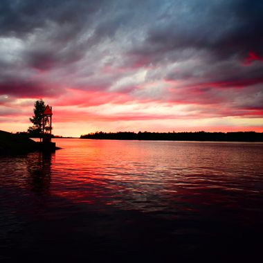 Caught this sunset on Rainy Lake by Bald Rock as a storm pasted on the way in from fishing