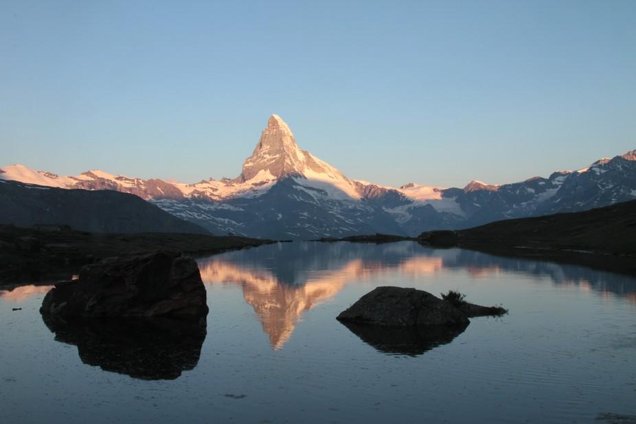 Matterhorn reflection Stallisee switzerland