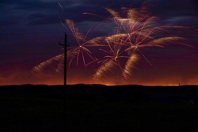 Fireworks in the wind