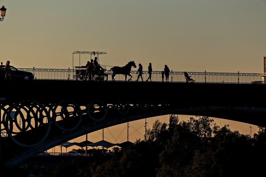 Siluetas al atardecer sobre el puente de Triana, Sevilla.