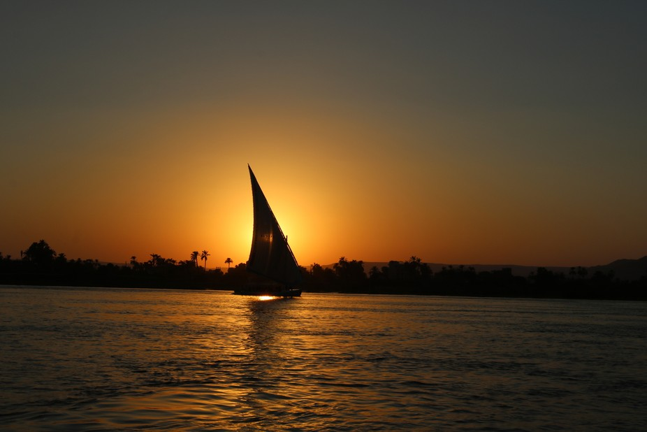 Felucca in the Nile at Sun Set