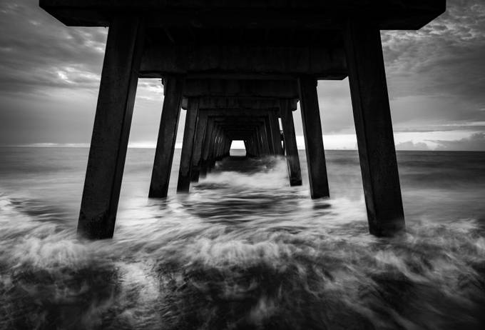 Waves Crashing Under the Pier by troymarcy - Our World In Black And White Photo Contest