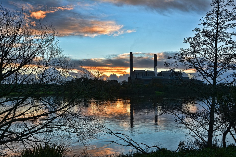 Huntly Power Station At Sunset