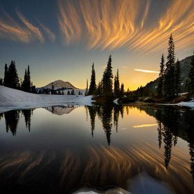 Sunset at Tipsoo Lake in Mt. Rainier National Park