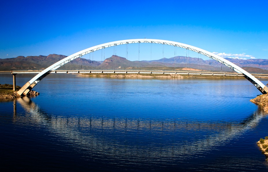 Near the Roosevelt Dam, this bridge takes traffic from the Apache Trail to other points in Arizona.
