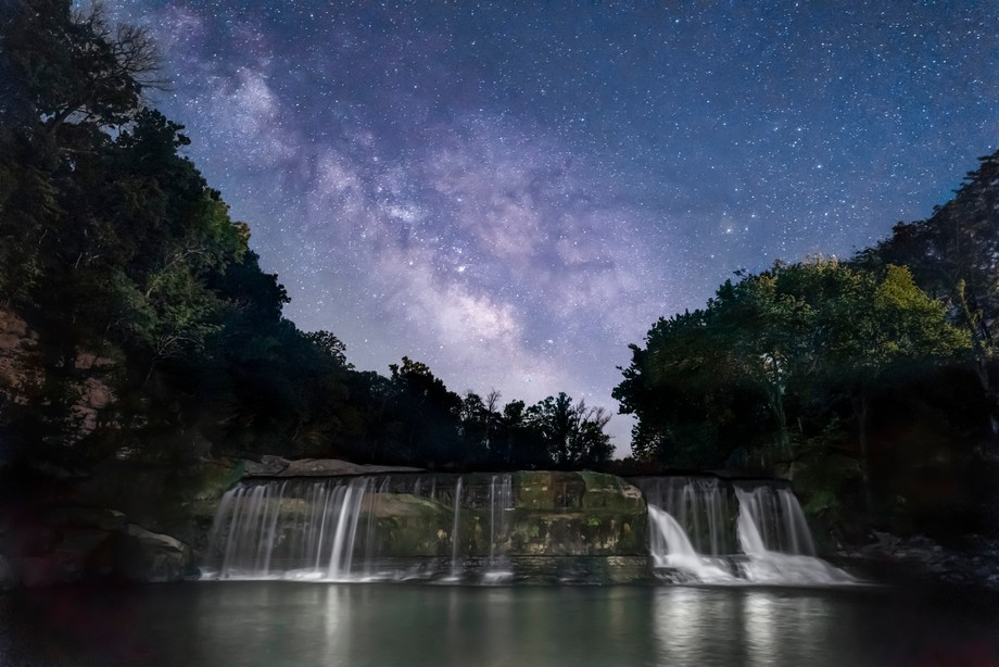 The Milky Way shines brightly in the dark rural Indiana sky over Owen County, Indiana's ...