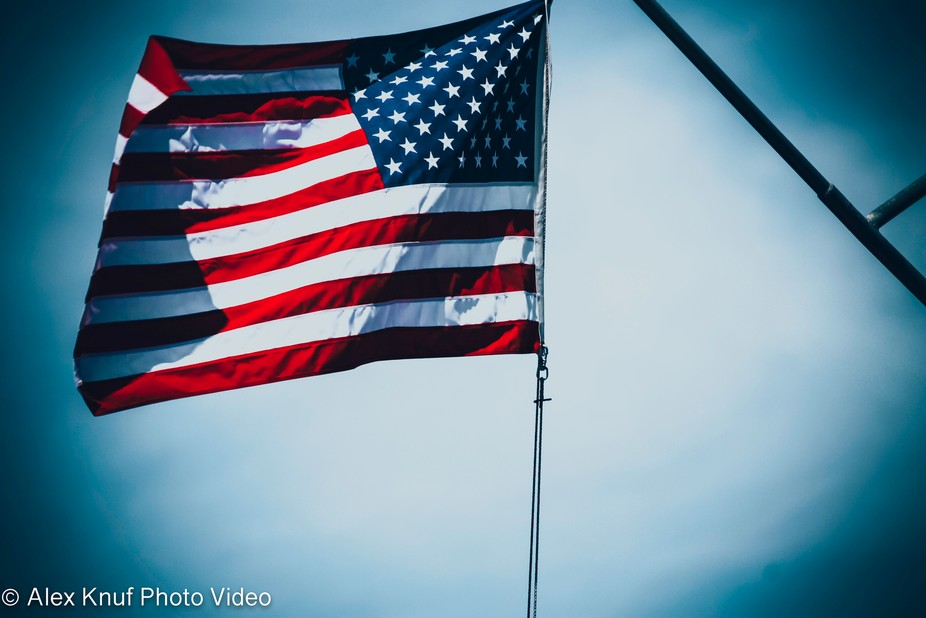 Captured this awesome and amazing photo of an American Flag in New York City, New York.