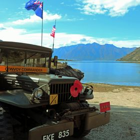 A Second World War Dodge Command Car parked next to Lake Hawea in New Zealand's South Island during the Armistice 2018 Convoy involving US a...