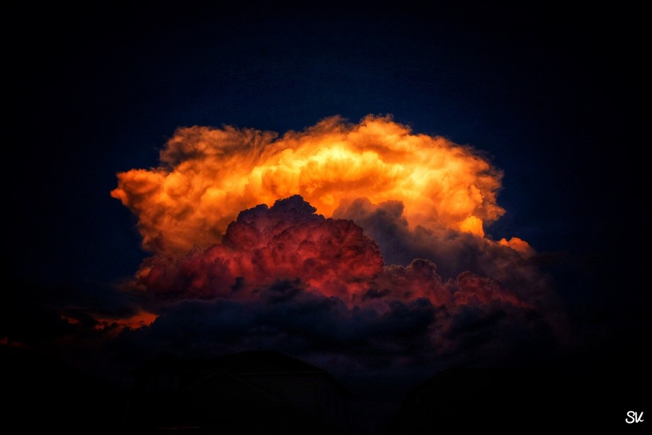 Storm clouds at sunset in Texas.