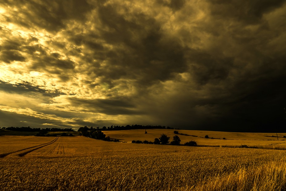 Stormy weather, sun, wind and clouds leads to this fantastic dramatic light near Nordhausen, Thur...
