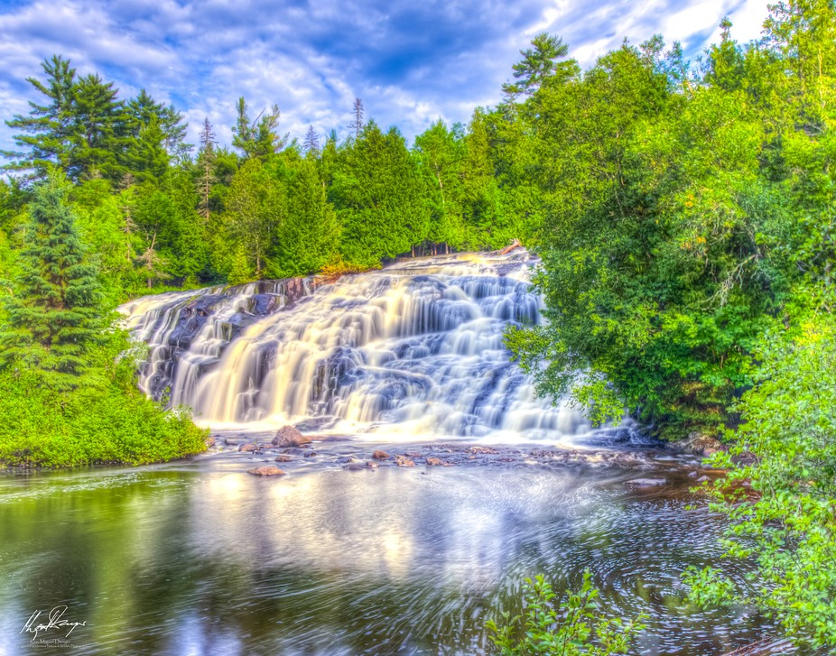 Bond Falls near Paulding, Michigan is located about 35 miles South of the Porcupine Mountains Sta...