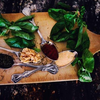 Herbs on a cutting board