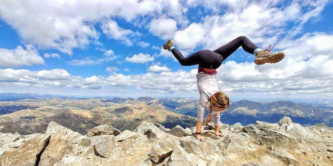 This was her 10th 14er and my 4th and she was doing hand stands on them which was even more incredible, very happy to have captured such an incredible moment.
