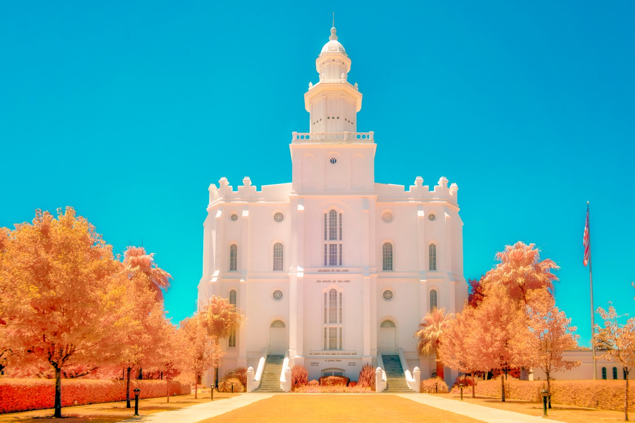 The Saint George, Utah LDS Temple photographed using a Sony A6000 full spectrum converted camera with a Lifepixel Hyper Color infrared filter. Processed to bring out slightly golden foliage.