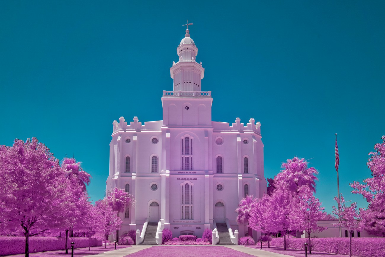 The Saint George, Utah LDS Temple photographed using a Sony A6000 full spectrum converted camera with a Lifepixel Hyper Color infrared filter. Processed to bring out pink foliage.