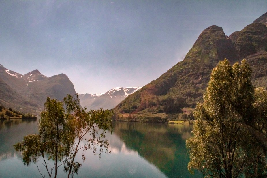 A beautiful lake in the town of Olden, Norway