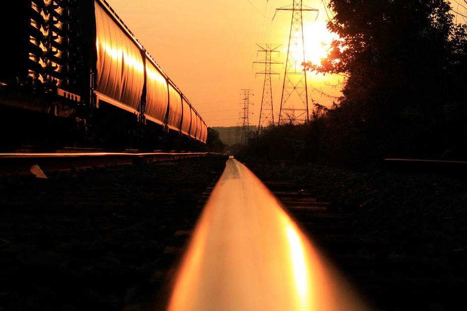 Watching the sun hit the rail way