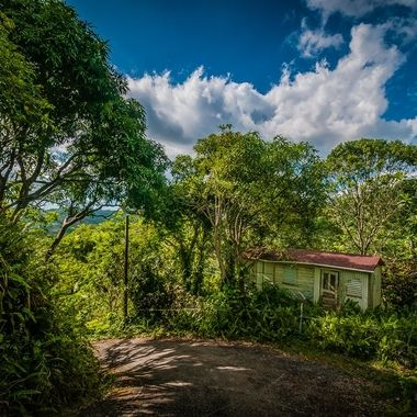 """""""The True"""" Six months after hurricane Maria and most roads cleared we took a long drive into the mountains to see how much damage there was?  when I came upon this lonely road where most homes were abandoned and destroyed I find this very old home still in tacked! I don't know how they even survived but they don't make them like they used too!"""