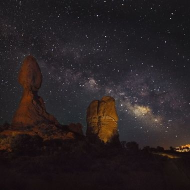 About midnight I went back to Balanced Rock in Arches National Park in Utah and walked into this scene. A gentleman had set up low-intensity lights, and he and several others were just finishing shooting. He kindly let me take several images before he shut the lights down. Many thanks to him.