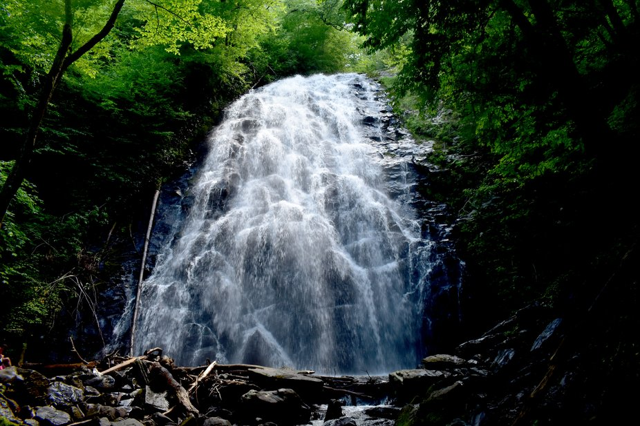 Beautiful waterfall off the Blue Ridge Parkway in North Carolina.
