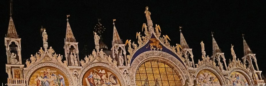 St. Mark's Basilica Detail Night